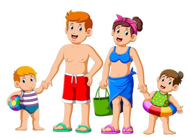 Familia feliz en vacaciones de verano yendo a la playa Vector Premium