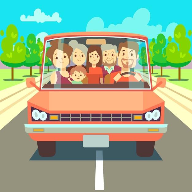 Familia Feliz Viajando En Coche Por Carretera Gran Familia De