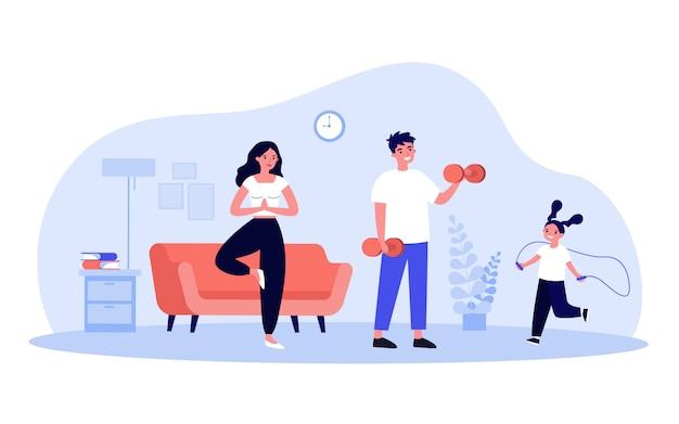 Familia haciendo ejercicio en casa Vector Premium