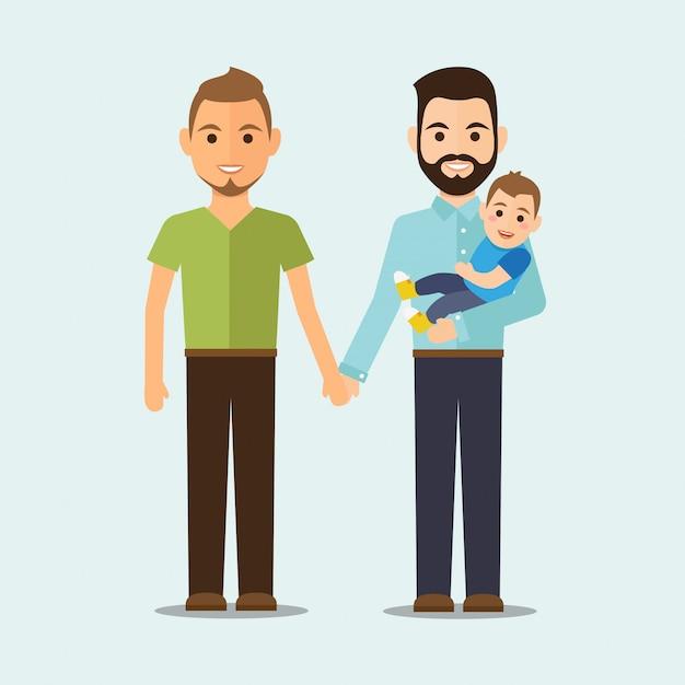 Familia homosexual con niño Vector Premium