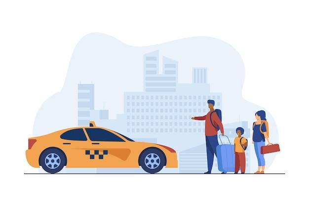 Familia joven con equipaje tomando taxi al aeropuerto. vector gratuito