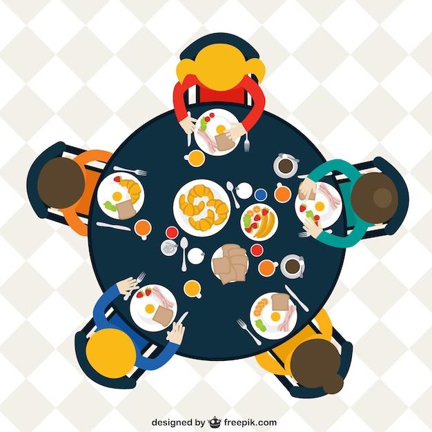 Familia en la mesa comiendo el desayuno vector gratuito