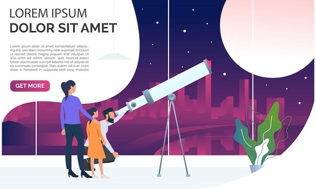Familia mirando la luna a través del telescopio vector gratuito