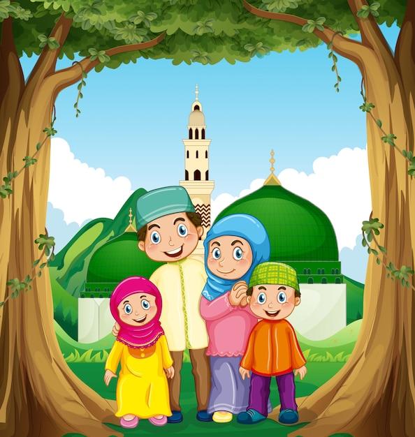 Familia musulmana en la mezquita vector gratuito