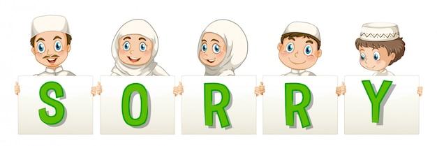 Familia musulmana sosteniendo la palabra para lo siento vector gratuito