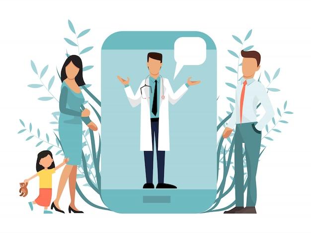 Familia con un niño en consulta médica en línea utilizando la aplicación de atención médica en el teléfono inteligente. Vector Premium