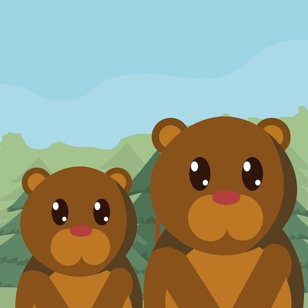 Familia De Osos En Dibujos Animados Lindos Del Bosque Descargar