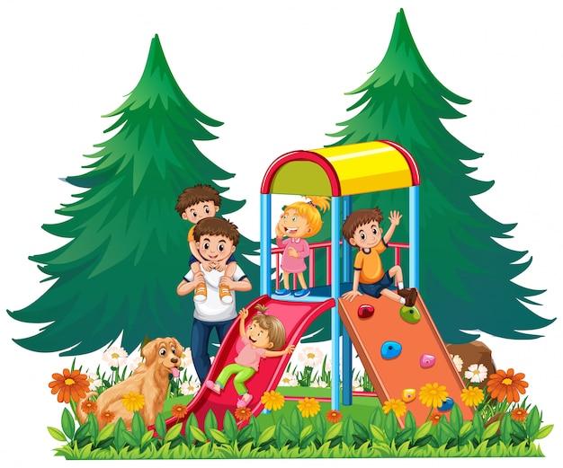 Una familia en el patio de recreo. Vector Premium