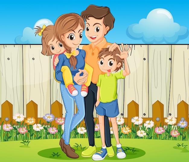 Una familia en el patio con una valla de madera. vector gratuito
