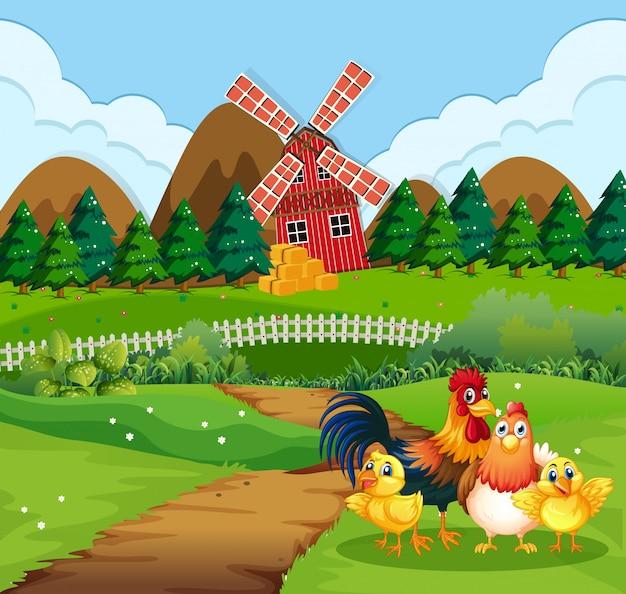 Familia de pollos en tierras de cultivo Vector Premium