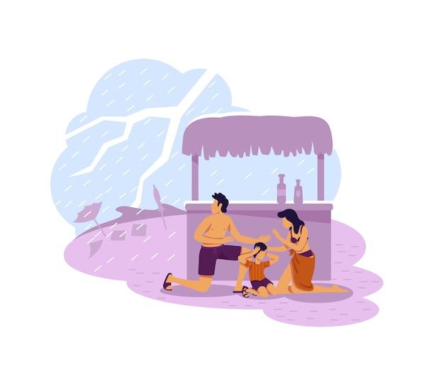Familia que se esconde del banner web de thunderbolt 2d, cartel. personajes planos de desastres naturales sobre fondo de dibujos animados. clima tropical, parche imprimible de mal tiempo, elemento web colorido Vector Premium