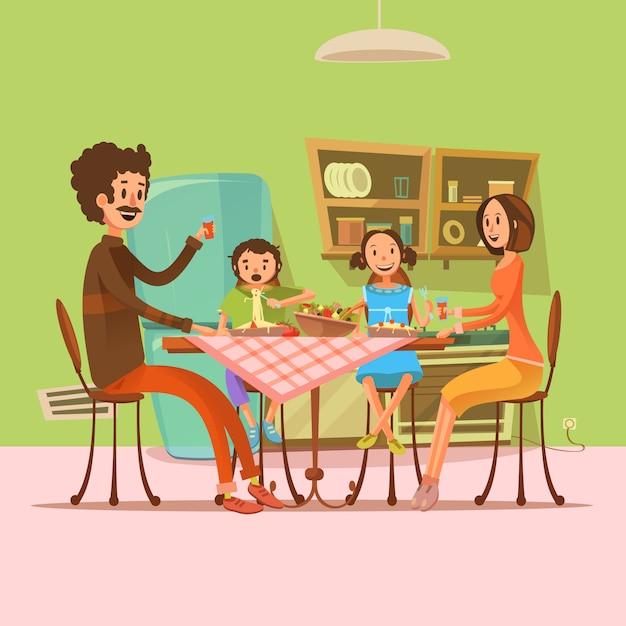 Familia que tiene comida en la cocina con nevera y mesa de dibujos animados retro ilustración vectorial vector gratuito