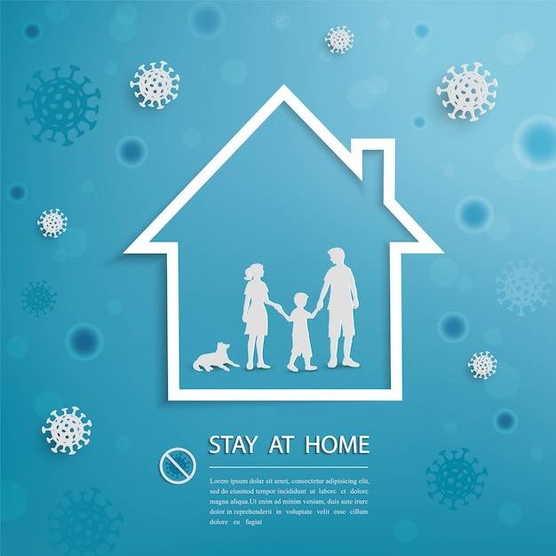 La familia se queda en casa durante el brote de coronavirus covid-19 Vector Premium