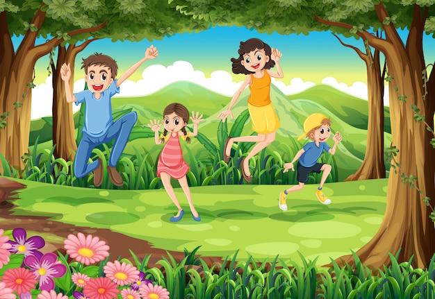 Una familia saltando en el bosque. vector gratuito