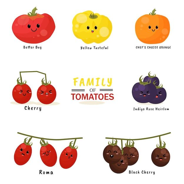 Familia de tomates ilustración personaje icono animación dibujos animados mascota expresión Vector Premium