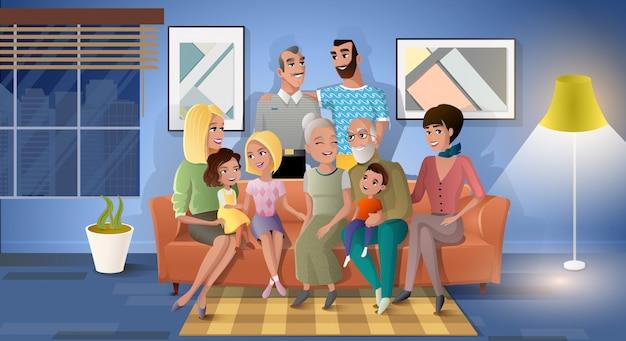 Familia tres generaciones juntas de dibujos animados vector Vector Premium