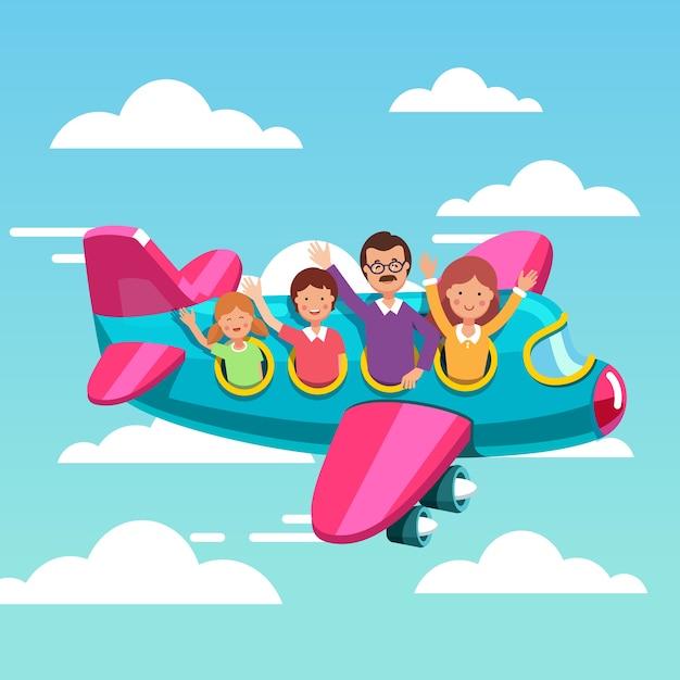 Familia, turistas, viaje, avión, juntos Vector Gratis