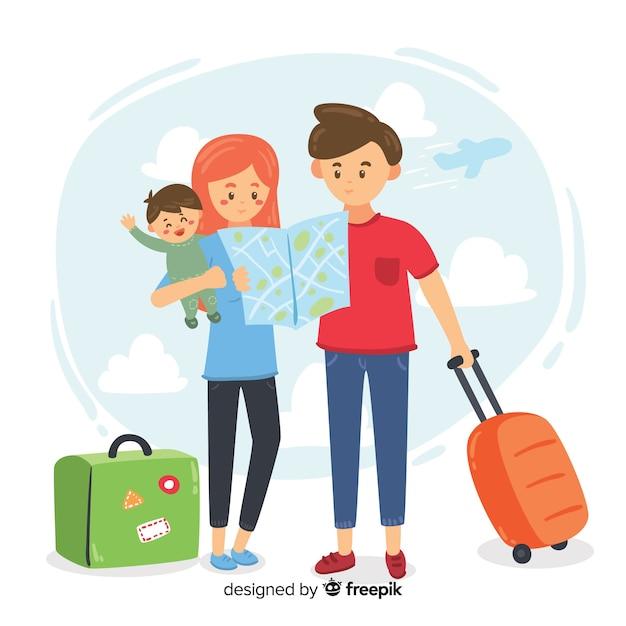 Familia viajando vector gratuito