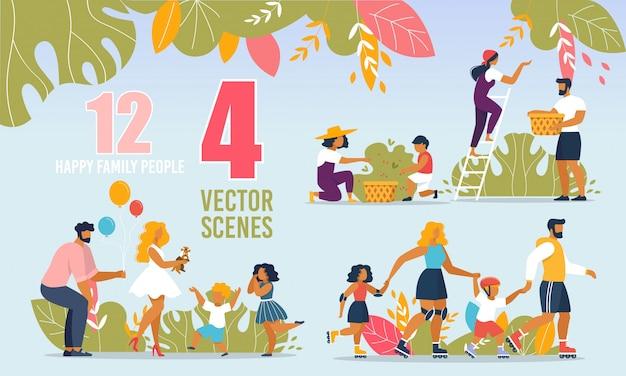 Familias felices haciendo actividades al aire libre. Vector Premium