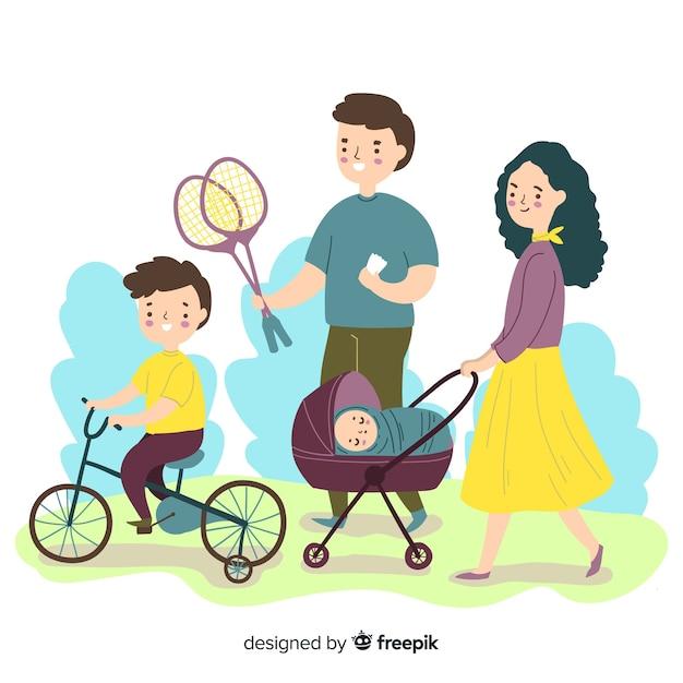 Familias haciendo actividades al aire libre vector gratuito