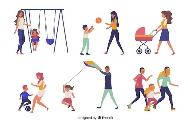 Familias practicando actividades al aire libre vector gratuito