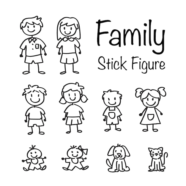 Family stick figure doodle set | Descargar Vectores Premium