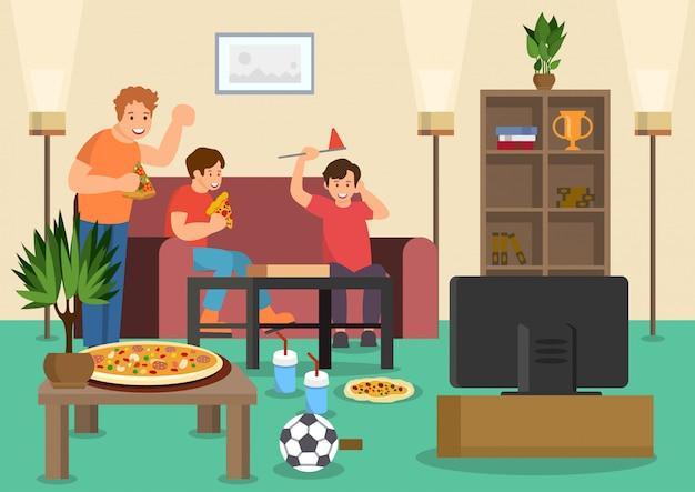 Los fanáticos de los amigos de dibujos animados comen pizza viendo fútbol. Vector Premium