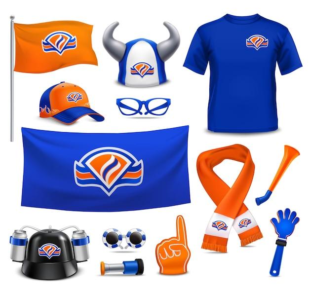 Fanáticos del deporte fans accesorios realista set vector gratuito