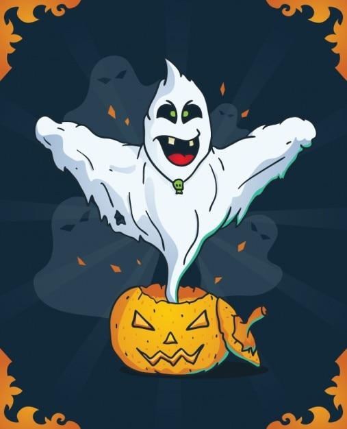 Fantasma de miedo en calabaza de halloween descargar - Calabazas de halloween de miedo ...