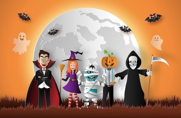 Fantasmas de halloween con luna llena Vector Premium