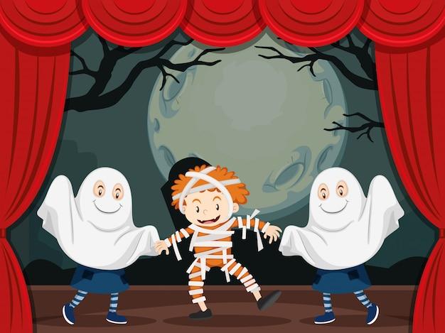 Fantasmas y momia en el escenario. vector gratuito