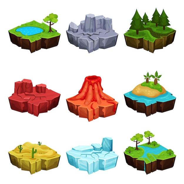 Fantásticas islas para juegos, desierto, volcán, bosque, hielo, cañones, ubicaciones ilustraciones sobre un fondo blanco Vector Premium