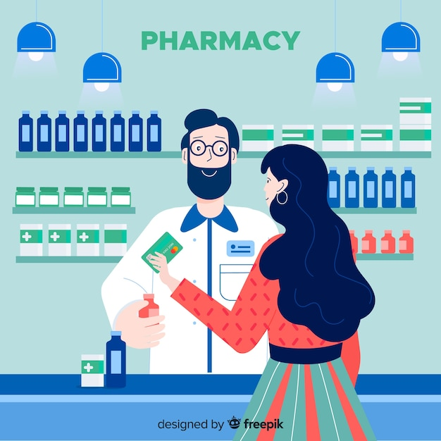 Farmacéutico con cliente vector gratuito