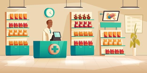 Farmacéutico masculino en mostrador en farmacia vector gratuito
