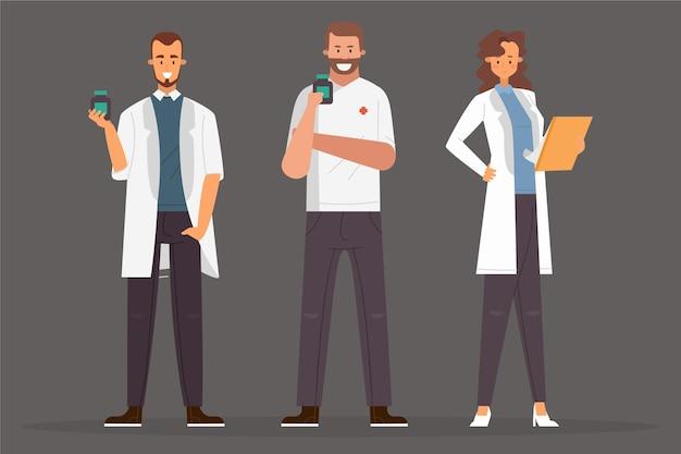 Farmacéutico personas dispuestas a ayudar vector gratuito