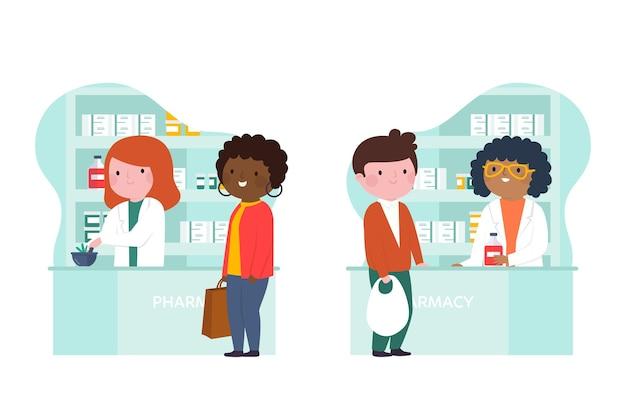 Farmacéuticos y clientes en la farmacia. vector gratuito