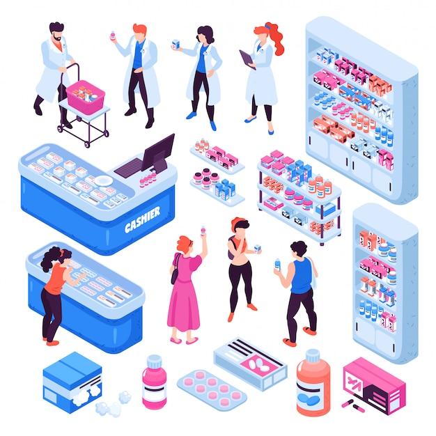 Farmacia isométrica con farmacéuticos y personas que compran medicamentos aislados sobre fondo blanco ilustración 3d vector gratuito