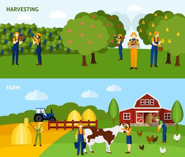 Farming 2 composición de pancartas horizontales planas. vector gratuito