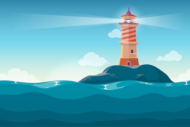 Faro En El Fondo De Vector De Dibujos Animados De La Isla De