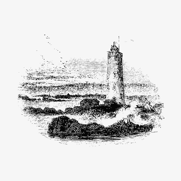 Faro de las islas farne vector gratuito
