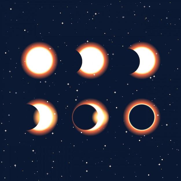 Fases del eclipse solar y solar. Vector Premium