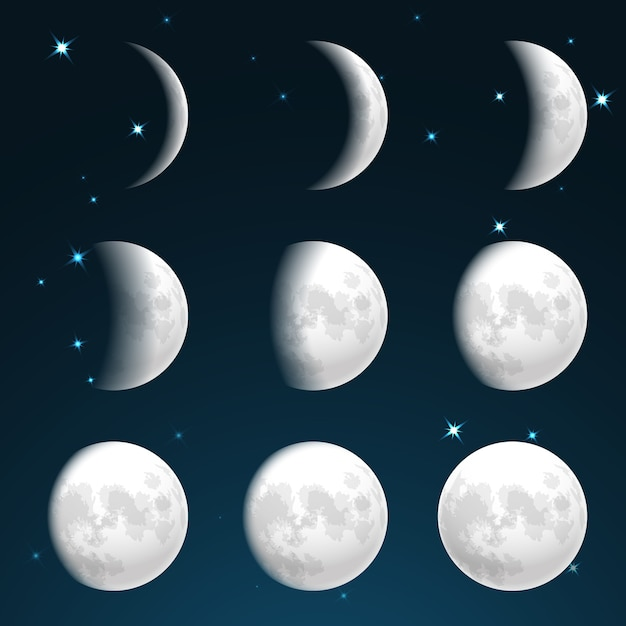 Fases de la luna en el cielo estrellado. vector gratuito