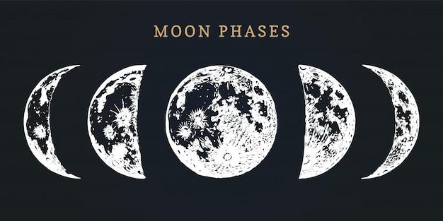 Fases de la luna. dibujado a mano ilustración del ciclo de luna nueva a luna llena. Vector Premium