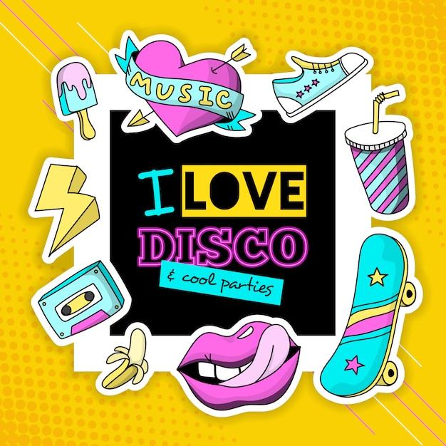 Fashion patch cool disco composición cartel vector gratuito