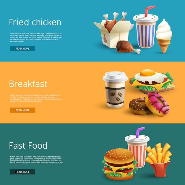 Fastfood options pictograms 3 banners horizontales vector gratuito