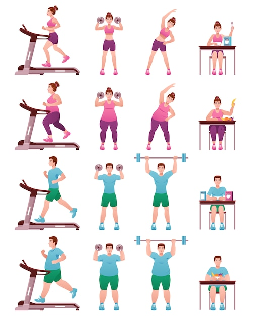 Fat slim fitness people icon set vector gratuito