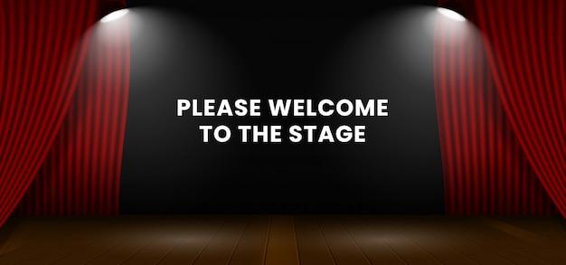 Por favor, bienvenidos al escenario. telón de telón de escenario de teatro rojo abierto. Vector Premium