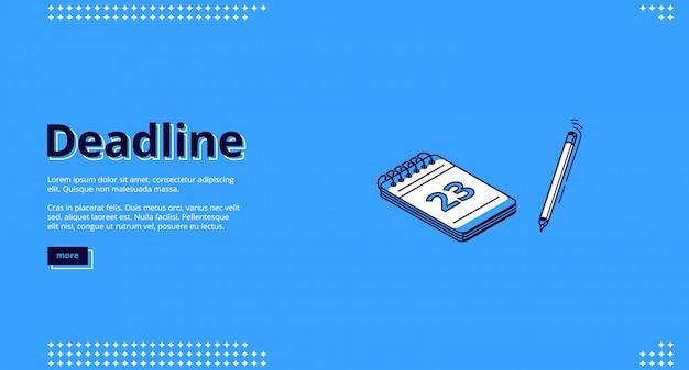 Fecha límite, página de inicio isométrica de gestión del tiempo vector gratuito