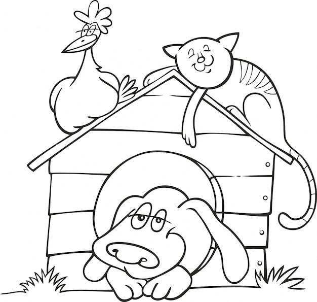 Felices animales de granja para colorear libro   Descargar Vectores ...