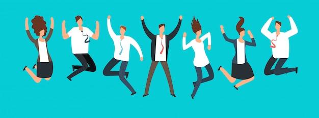 Felices emocionados empresarios, empleados saltando juntos. Vector Premium
